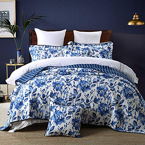 HNNSI Blue and White Porcelain Cotton Quilt Bedspread Set Queen Size 3 Piece ,Chinese Style Floral Comforter Bedding - Quilt Blue Floral