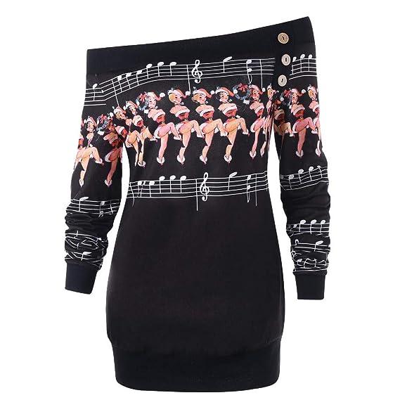 Sudadera para Mujer Feliz Navidad, más el tamaño del suéter Deer Elk Camiseta