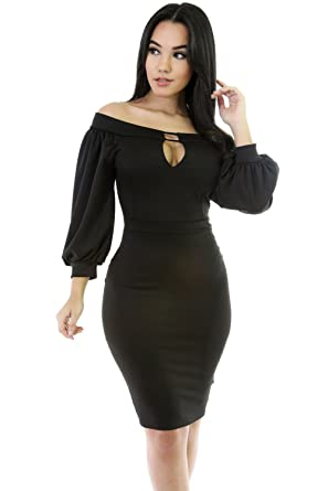 fd51164029b6 Image Unavailable. Image not available for. Color  Black Puffs Peep Hole  Off Shoulder Midi Bodycon Dress