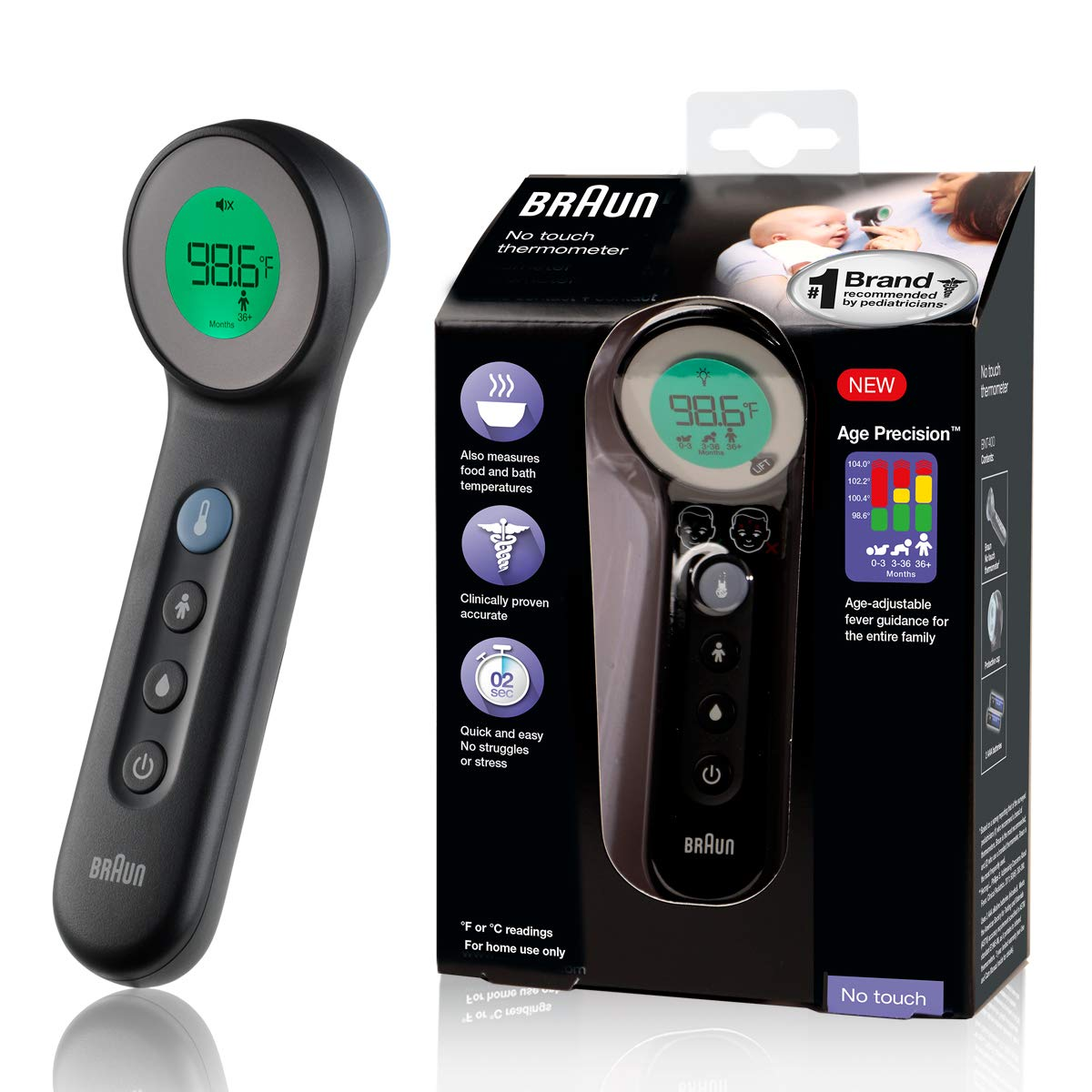 Braun No Touch 3-in-1 Thermometer - Touchless Thermometer for Adults, Babies, Toddlers and Kids – Fast, Reliable, and Accurate Results