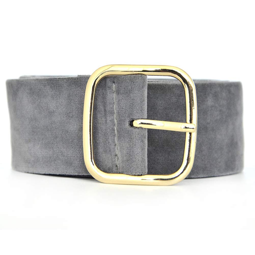 Alamana Fashion Suede Wide Waist Belt Large Square Buckle Strap Clothes Decor Waistband - Silver Gray