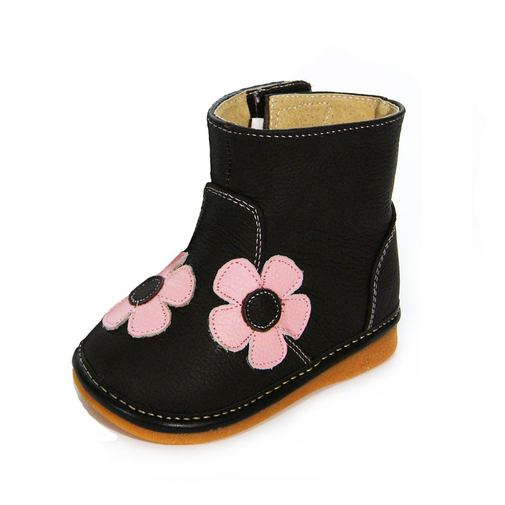HLT Toddler/Little Kid Girl Pink Flower Brown Squeaky Boot [US 10 / EU 26]