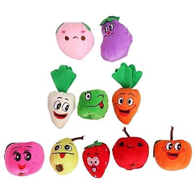 10pcs Marionnettes à Doigts de Fruits Légumes en Velours