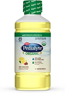 Pedialyte Organic Electrolyte Drink, Advanced Hydration for Kids & Adults, with Zinc Immune Support, Crisp, 1 Liter, Lemon Berry, 4 Count