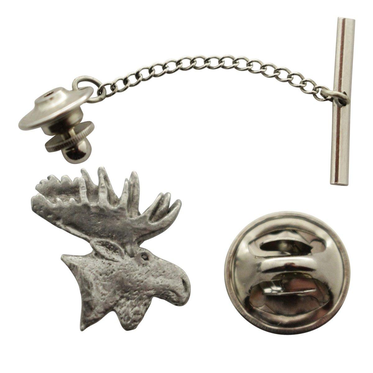 Moose Head Tie Tack ~ Antiqued Pewter ~ Tie Tack or Pin ~ Sarah's Treats & Treasures