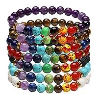 Milakoo 7 Pcs 8mm Lava Rock 7 Chakras Beads Bracelet Elastic Natural Stone Yoga Bracelet Bangle