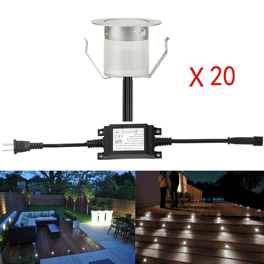 Sumaote Low Voltage LED Deck Light Kit Φ1.85'' Waterproof Recessed Deck Lamp LED In-ground Light for Step Stair Outdoor Garden Yard Patio Landscape Decor Cool White, Pack of 20, (FAST Transport by DHL)