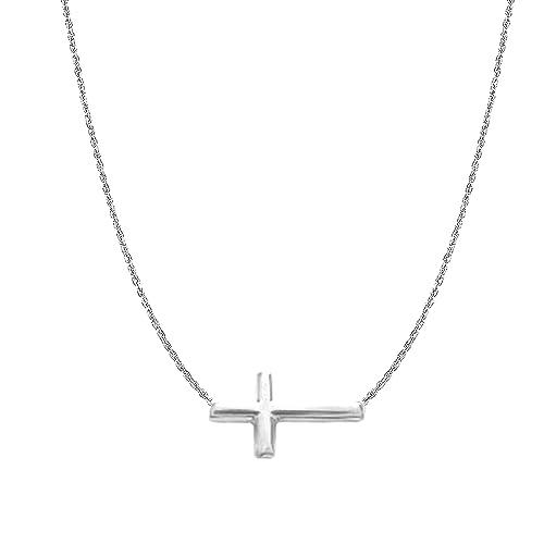 Amazon.com: Pulsera o collar de plata de ley con cruz en los ...