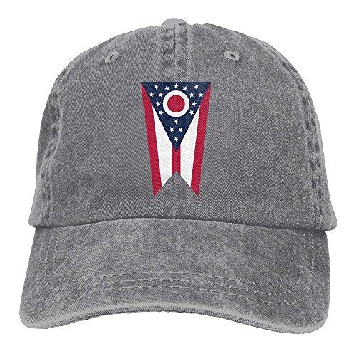 NO4LRM Men's Women's Ohio State Flag Cotton Adjustable Peaked Baseball Dyed Cap Adult Washed Cowboy (Ohio Cotton Cap)