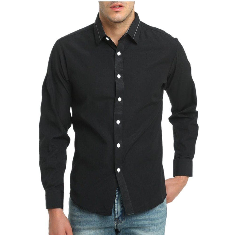 Pervobs Long Sleeve Shirts, Big Promotion! Men's Autumn Casual Long Sleeve Button Down Formal Slim Fit Solid Shirt Top Blouse (M, Black) by Pervobs Mens Long Sleeve Shirts