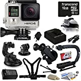 GoPro HERO4 Silver Edition with Huge Accessory Bundle Including Extra Battery + Travel Car Charger + 16GB Memory Card + Car Dash Window Mount + Chest Mount Strap + Bike Bicycle Mount + Head Helmet Mount Strap + Action Grip + Cleaning Kit