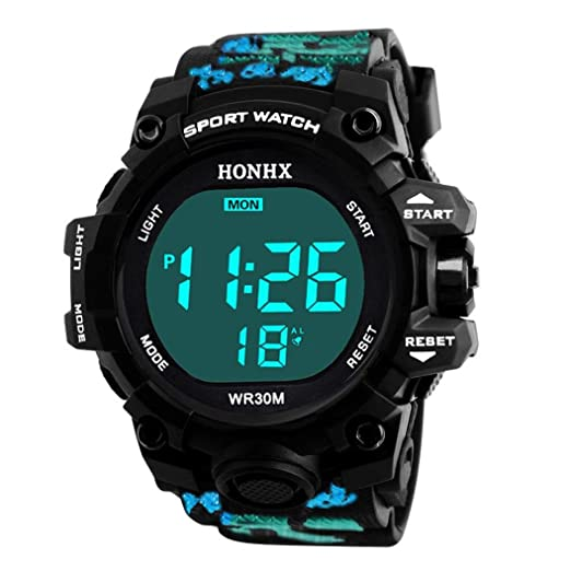 Deporte Muñeca Relojes Digitales LED Tecnología para Niños hombre estudiante pulsera impermeable alarma (Azul)