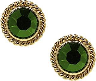 product image for 1928 Jewelry 14K Gold Dipped Light Green Small Round Stud Earrings