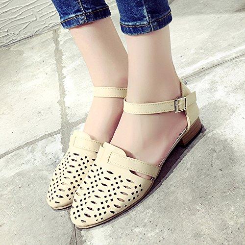 RUGAI-UE Hollow sandalias Verano Mujer gruesa hebilla zapatos de tacón bajo fresca pequeña Beige