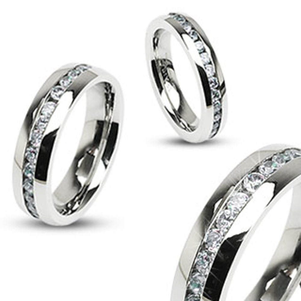 His and Hers Stainless Steel Princess Wedding Ring Set and Eternity Wedding Band Marimor Jewelry ST0W3835-ARH15704-45