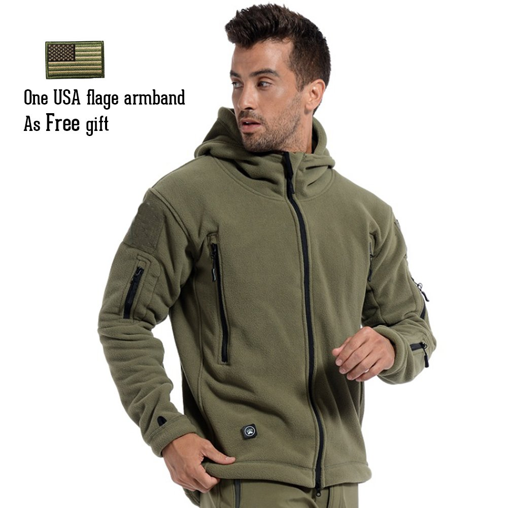 ReFire Gear Men's Warm Military Tactical Sport Fleece Hoodie Jacket, Army Green, X-Large by ReFire Gear (Image #3)