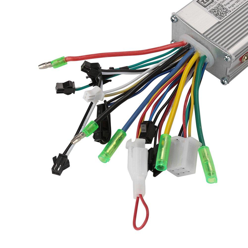 Controlador de Velocidad de Motor sin escobillas para Bicicleta el/éctrica y Scooter Alomejor 36V//48V 250W