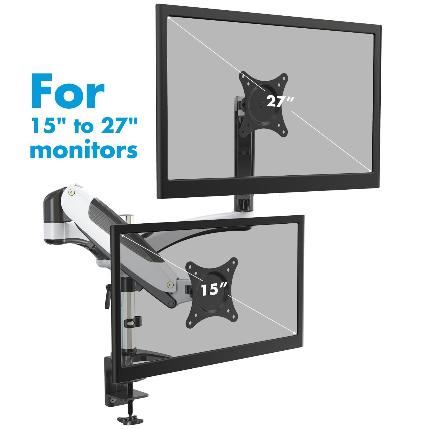 Dual Monitor Mount Perlegear, Free Standing Two Arm Monitor Stand for 13 to 32 inch LCD/LED/TFT Screens VESA 75 to 100mm Height Adjustable Swivel and Tilt, Each Arm Holds 8KG PGCM1-E