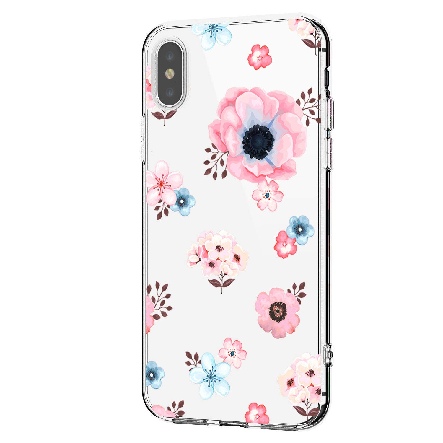 Riyeri Hülle Compatible with Apple iPhone Xr Hülle Cover iPhone Xs Handyhülle Schutzhülle Transparent Blume Muster Weich TPU Silikon Case für Apple iPhone Xs Max Mobile Phone
