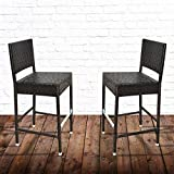 BenefitUSA SET of 2 Dark Coffee Indoor Outdoor Wicker Bar Stool Patio Furniture All Weather double pair (2)