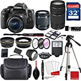 Canon EOS Rebel T6i DSLR Camera w/EF-S 18-55mm f/3.5-5.6 is STM and EF 75-300mm f/4-5.6 III Lenses + Professional Accessory Bundle