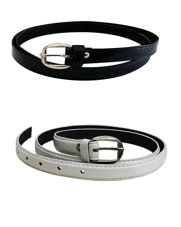 Devil Women's Combo Set Of 2 PU leather belts (Black & White)