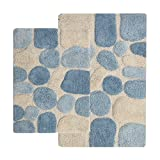 Bathroom Rug Sets Blue Chesapeake 2-Piece Pebbles 21-Inch by 34-Inch and 24-Inch by 40-Inch Bath Rug Set, Aquamarine