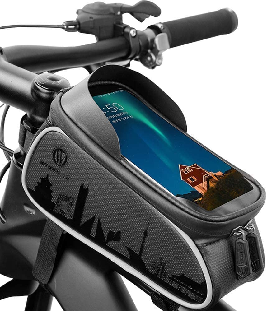 Gayisic Bike Bag Bicycle Bag Waterproof Bike Frame Bag With Tpu Touch Screen Large Capacity Pressure Resistant Handlebar Bag With Headphone Hole And Sun Visor Suitable For Smartphone Under 6 0 Inch Amazon Co Uk Sports