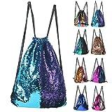 Mermaid Sequin Backpack Glittering Outdoor Shoulder Bag, Winmany Magic Reversible Glitter Drawstring Backpack , Fashion Bling Shining Dance Bag, Sports Backpack Bag