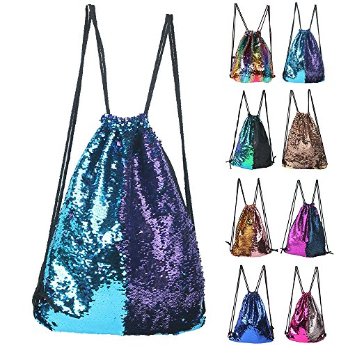 Dance Drawstring - Mermaid Sequin Backpack Glittering Outdoor Shoulder Bag, Winmany Magic Reversible Glitter Drawstring Backpack , Fashion Bling Shining Dance Bag, Sports Backpack Bag