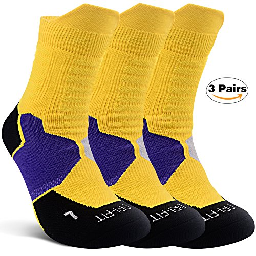 1e2c8432e344b Thick Protective Sport Socks Mixed Color Cushioned Elite Basketball  Compression Athletic Outdoor Crew Socks for Men Women Boys Girls US size  7~13