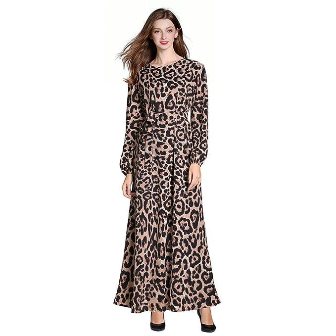 63f31a3a86 Amazon.com: Sunyastor Women Muslim Dress Leopard Print Loose Long Dress  Vintage Kaftan Abaya Party Casual Muslim Jilbab Maxi Dress: Clothing
