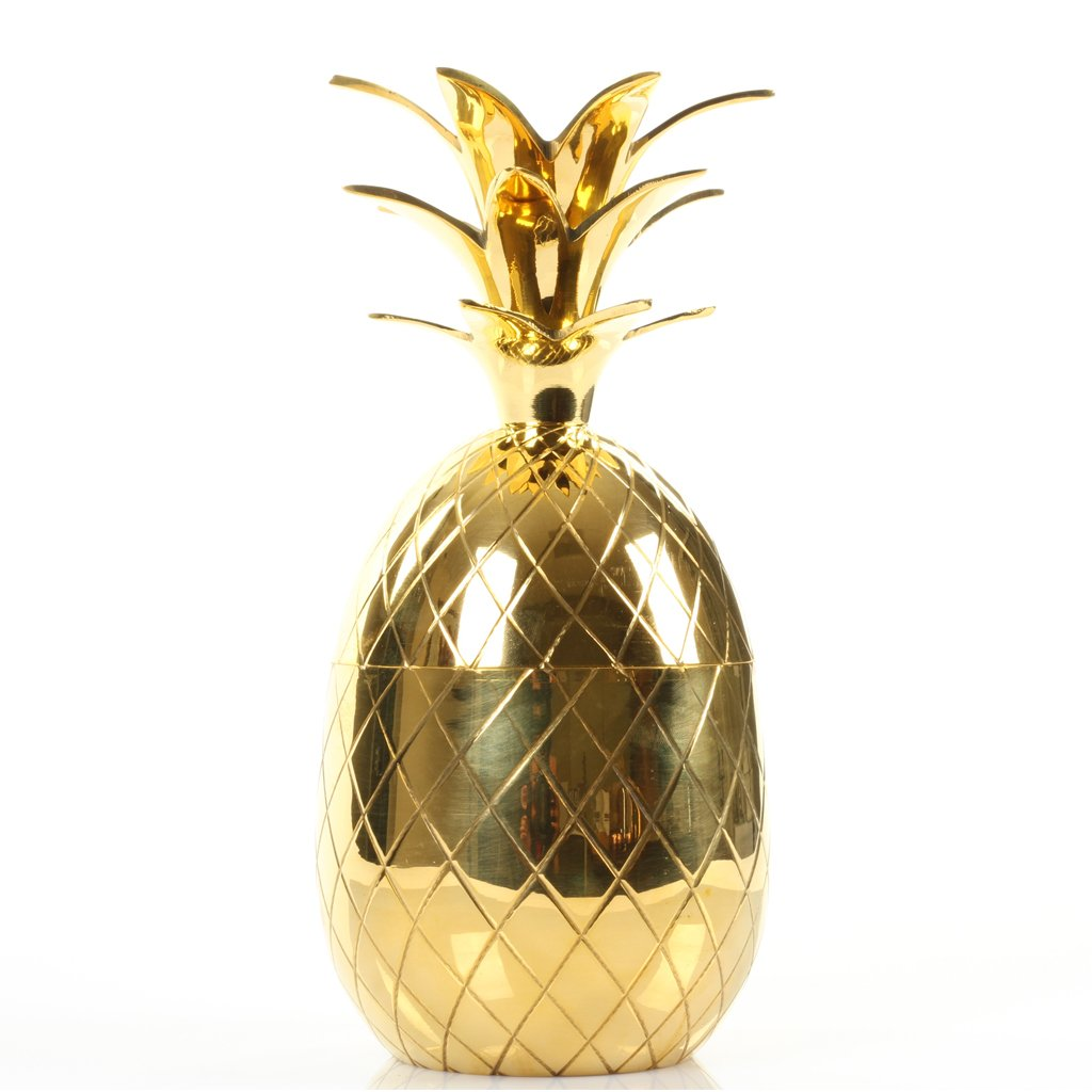 Koyal Wholesale 6'' Vintage Brass Pineapple, Tumbler, Shotglass