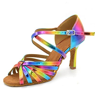 7bc3e42d8edc Women Latin Dancing Shoes for Ballroom Salsa Tango Rainbow Color HXYOO   Amazon.co.uk  Shoes   Bags