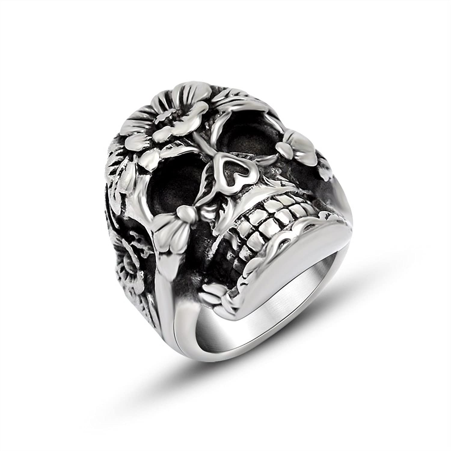 FANSING Jewelry Stainless Steel Fashionable Flower Skull Rings