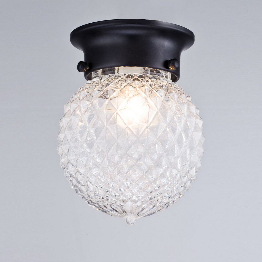 Flush Mount Ceiling Light Fixture Antique Glass Globe Clear Indoor Hallway Home