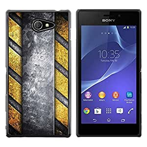 Be Good Phone Accessory // Dura Cáscara cubierta Protectora Caso Carcasa Funda de Protección para Sony Xperia M2 // Danger Stripes Metal Pattern