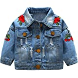 Top and Top Baby Girls Denim Jacket Rose Flower Embroidery Toddler Ripped Denim Coat For Kids