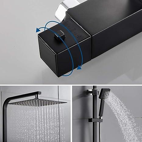 Auralum Conjunto de Ducha Termostática Negro Diseño Moderno ...