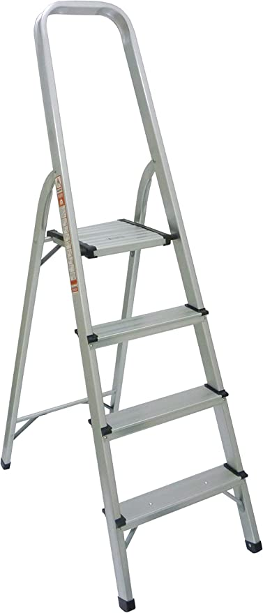 Escalera aluminio, 4 escalones de trabajo plegable robusta profesional biberón para casa: Amazon.es: Hogar