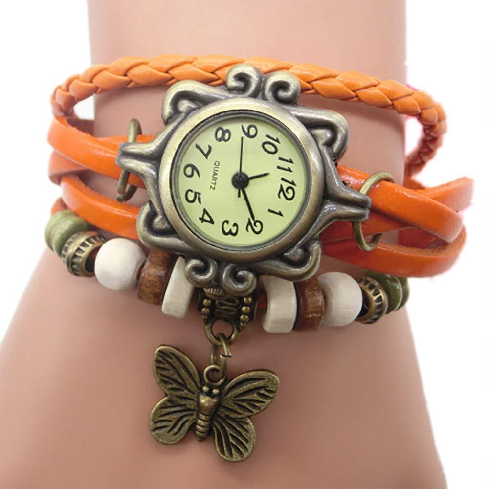 Pocciol Brown Retro Weave Wrap Lady Bead Butterfly Dangle Bracelet Bangle Quartz Wrist Watch (Orange) by Pocciol Cheap-Nice Watch (Image #1)