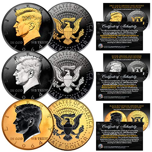 Coin Set Black (1964 BU Silver JFK Half Dollars 2-Sided BLACK RUTHENIUM - Set of All 3 Versions)