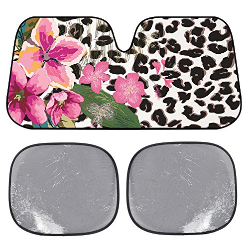 Static Windshield Cling - BDK USA Flower Leopard Sunshade - Pink Hibiscus Orchid - Folding Accordion with Static Cling Sun Shade
