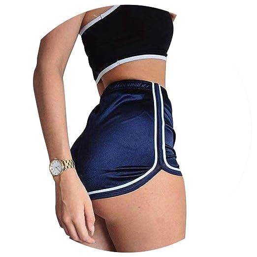 Amazon.com  High Waist Ladies Casual Stain Shorts Fitness Slik Booty Shorts  for Women Sexy Pole Dance Shorts Pantalon Femme  Clothing b6bb0309bdd