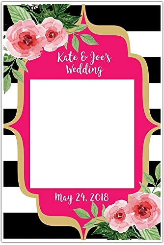 b6c28e68685ee Black and White Striped Floral Selfie Frame Social Media Frame Photo Booth  Prop Poster