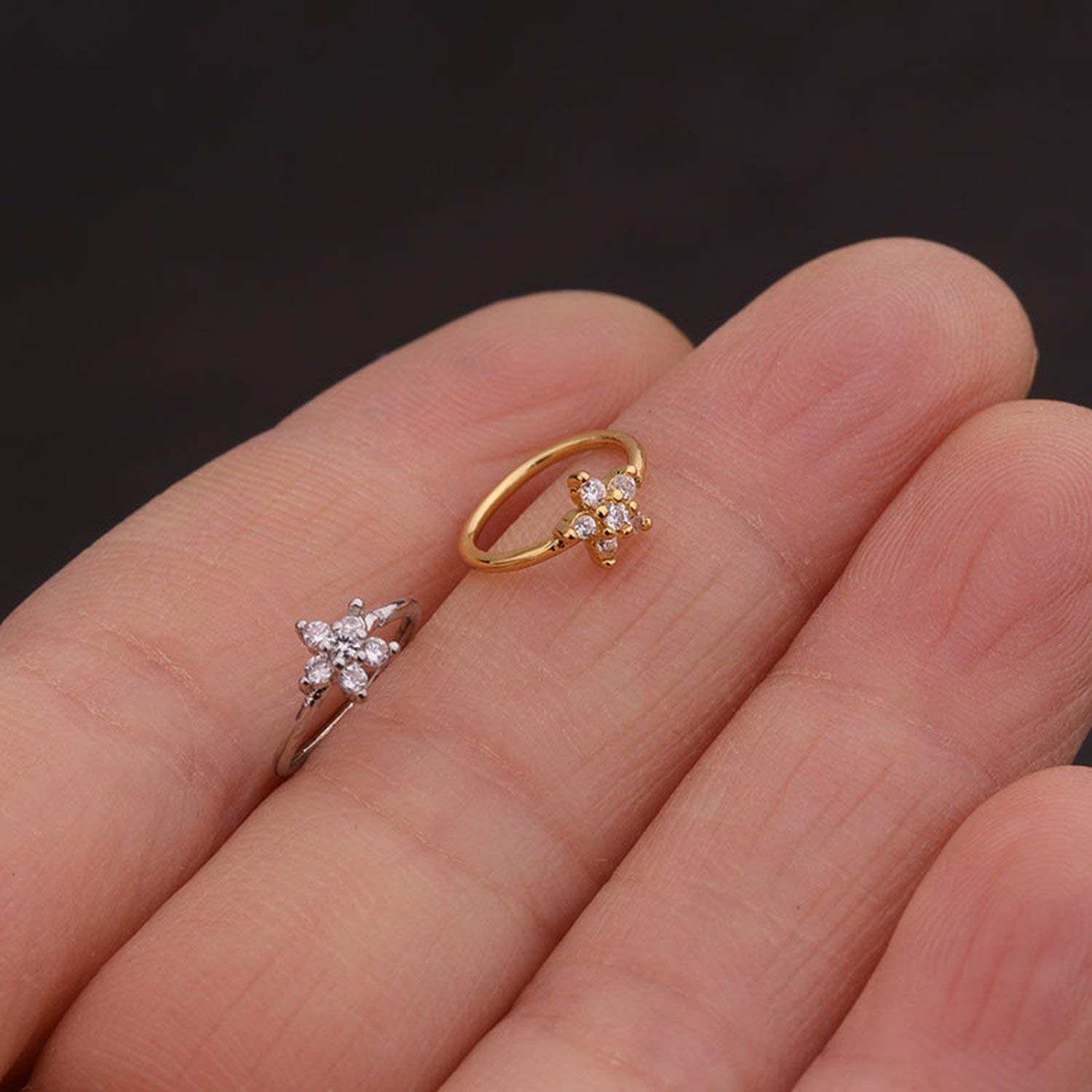 1PC Silver And Gold Color 20gx8mm Nose Piercing Jewelry Nose Hoop Nostril Helix Cartilage Earring