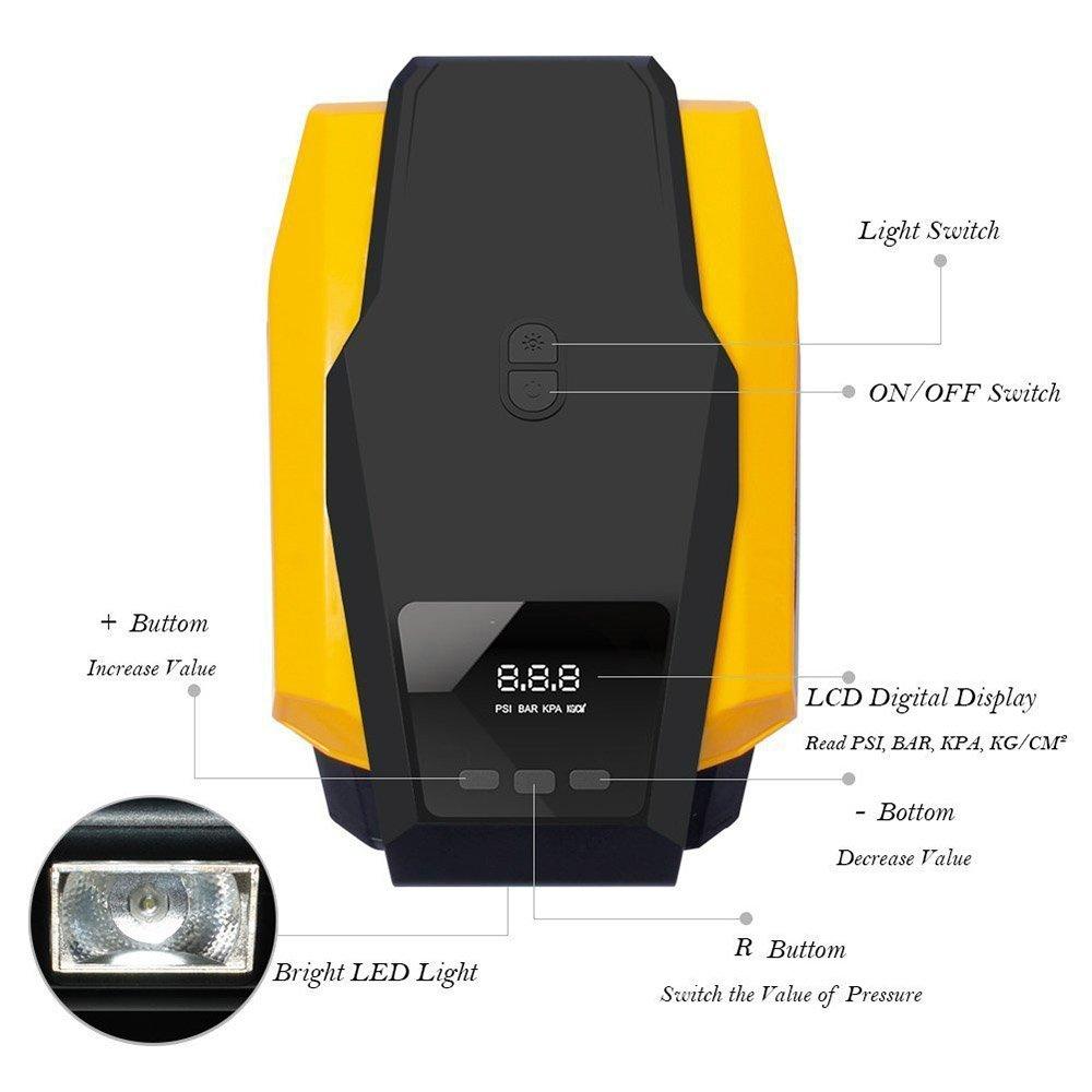 Compresor De Aire Portátil 12V Coche Auto Eléctrico Aire Compresor Neumático Inflador Bomba Con 8.4ft Largo Extendido Cable De Alimentación Luces LED: ...