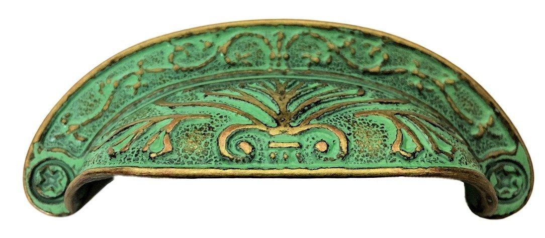 Verdigris Cup Pull - Baroque Scroll Work Design - Antique Cabinet, Vintage Cupboard, Old Desk Reproduction Restoration Hardware + Free Bonus (Skeleton Key Badge) DL-P2683-064VDG (1)