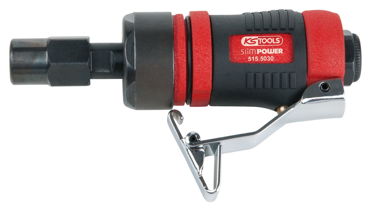 KS Tools 515.5030 Mini meuleuse axiale pneumatique slimpower, Rouge/Noir