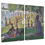 Georges Seurat 'La Grande Jatte' 2 piece gallery-wrapped canvas is a high-quality canvas print in which a crowd gathers on the river bank dressed in wonderful, formal attire. A stunning addition to your home or office.